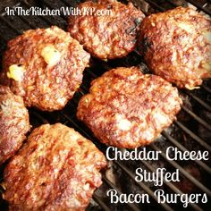 Cheddar Cheese Stuffed Bacon Burgers to celebrate National Cheeseburger Day! #recipe