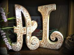 """Standing 10"""" tall wood letters... painted in crème with gorgeous raised design..."""
