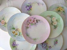 Sherbet vintage plates with pretty decorative floral designs. Antique Dishes, Antique Plates, Vintage Plates, Vintage Dishes, Vintage China, Hand Painted Plates, Decorative Plates, China Painting, Pretty Pastel