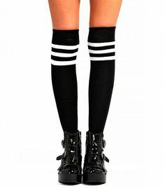 Boohoo Stripe Top Knee High Socks ($10) in Black