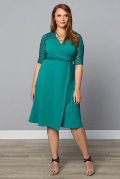 Grab our plus size Honeycomb Wrap Dress at a steal while supplies last. Shop our entire made in the USA collection online and see what other great styles are on sale at www.kiyonna.com.