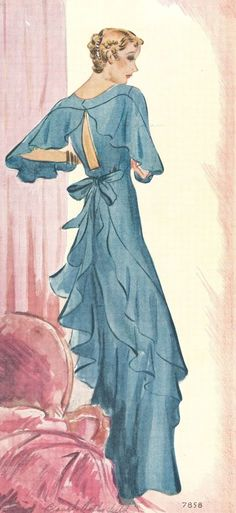 "what-i-found: ""Covered Shoulders have a new captivation"" - 1934    Eva Dress has a reproduction of this one here: http://www.evadress.com/E30-7858-1934-Finned-Evening-Gown-Size-18_p_25.html"