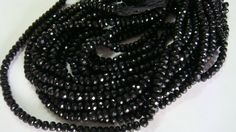 AAA Black Spinel 8 mm Facted rondelles by finegemsjewelery on Etsy, $42.00