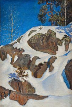 'Snow-Covered Cliffs at Kalela', Oil On Canvas by Akseli Gallen Kallela Finland) Winter Landscape, Mountain Landscape, Landscape Art, Landscape Paintings, Scandinavian Paintings, Life Paint, Mountain Art, Canadian Art, Winter Trees