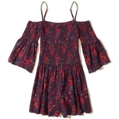Hollister Smocked Cold Shoulder Romper ($45) ❤ liked on Polyvore featuring jumpsuits, rompers, burgundy floral, floral rompers, burgundy romper, floral romper, purple cami and floral camisole