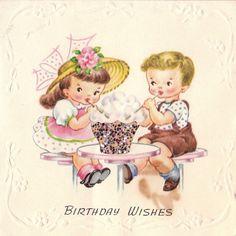 Vintage 1950s Birthday Wishes Greetings Card (B66)