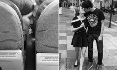 Fotógrafo captura flagrantes de amor em meio ao caos da metrópole - Conversa de Fotógrafo  Casais no avião e na rua Se você achava que os brasileiros eram o povo mais beijoqueiro que existia pelo mundo talvez mude de ideia agora ao perceber que pessoas de todo o mundo adoram trocar alguns beijos em público. É o que mostra a série fotográfica que ganhou o nome de Just Kiss Me