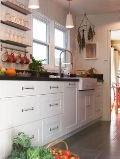 Mid Century Modern Flooring Design   ... Mid Century Kitchen Design White  Storage Tile