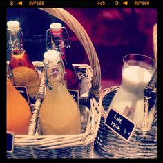 Breakfast buffet at Le Richemond. Lovely presentation of juices and milk in baskets.