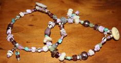 Purple Wampum inspired double bracelet. Boho, beach chic with shell and bead charms. by sugarbead on Etsy