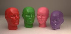 colourful mannequin heads