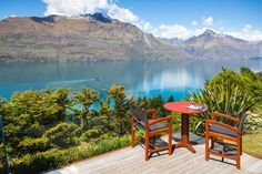 Azur Lodge private terrace with wonderful mountain view, Queenstown