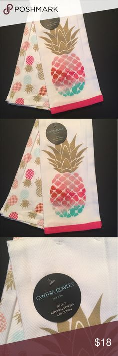 Cynthia Rowley Kitchen Towels Pineapple Summer Cynthia Rowley Kitchen Towels Set of 2 Pineapples 100% Cotton NWT Cynthia Rowley Other