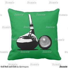 Golf Ball and Club Throw Pillow  by #Sports4you at #Zazzle #Gravityx9 #homedecor - Hey, Golfers and Golf Fans! You can customize this item by adding text, a photo or resizing the image to be larger, smaller, or tiled to fill the entire area!