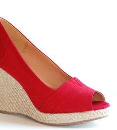 Talent Red High Wedge Platform Espadrille Heel Sandals Pumps Women Canvas Causal Shoes