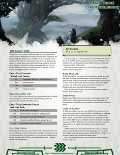 Homebrewing class Otherworldly Patron: The Great Tree Dungeons And Dragons Pdf, Dungeons And Dragons Homebrew, Dnd Characters, Fantasy Characters, Warlock Class, D D Races, Dnd Classes, Dungeon Master's Guide, Open Image