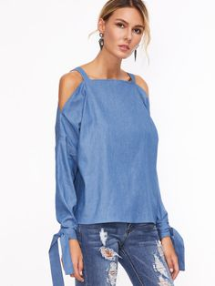 Blue Cold Shoulder Tie Sleeve Chambray Top