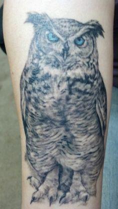 Great Horned Owl Black And Grey Tattoo animal tattoo | Tumblr...