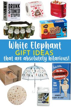 It's that time of year again, and White Elephant Gift Exchanges are always a good time! We have so much fun with these every year, and always try to bring the best, or funniest gift to the party. Here are some fun white elephant gift ideas. Holiday Gift Guide, Holiday Gifts, Holiday Cards, Bad Day Humor, Best White Elephant Gifts, Gift Exchange, Cool Diy Projects, Gifts For Husband, Best Dad