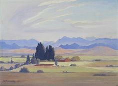View in the Orange Free State - JH Pierneef South Afrika, African Paintings, Free State, South African Artists, Landscape Paintings, Landscapes, Impressionist, Painting Inspiration, Vintage Art