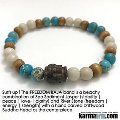 Surfs up ! The BAJA band is a beachy combination of Sea Sediment Jasper (stability   #peace   love   clarity) and River Stone (#freedom   #energy   #strength) with a hand carved Driftwood #Buddha Head as the centerpiece.  ..…..# Love #Beaded #Bracelet #Yoga #Chakra #Mala #Stretch #Meditation #handmade #Jewelry #Energy #Healing #Crystals #Stacks #pulseiras #Bijoux #Handmade #Reiki #Mala #Buddhist #Charm #Mens #Womens….