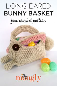 Long Eared Bunny Basket - free crochet pattern on Mooglyblog.com! *** #spring #easter #crochet pattern #holiday #patterns #crafts #diy