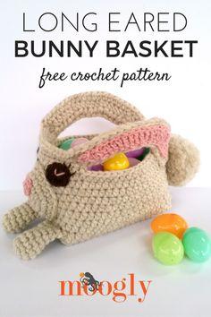 Long Eared Bunny Basket - free crochet pattern on Mooglyblog.com!  *** #spring #easter #crochet pattern #holiday #patterns #crafts #diy