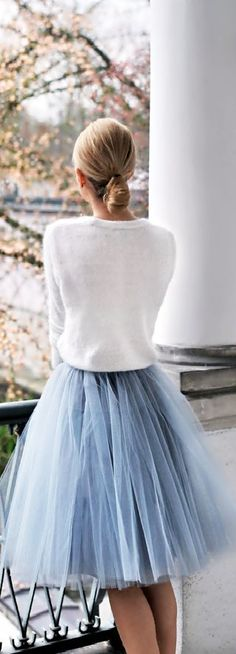 Blue tulle skirt wit