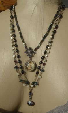 SALE 20% OFF // Heavens Bright Shore  Antique Religious Icon Relic Rosary Handmade Assemblage Necklace. $220.00, via Etsy.