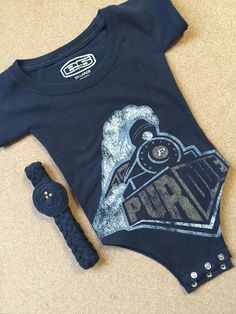 Up-Cycled Purdue Boilermakers University T-Shirt Onesie With Headband, $23.50