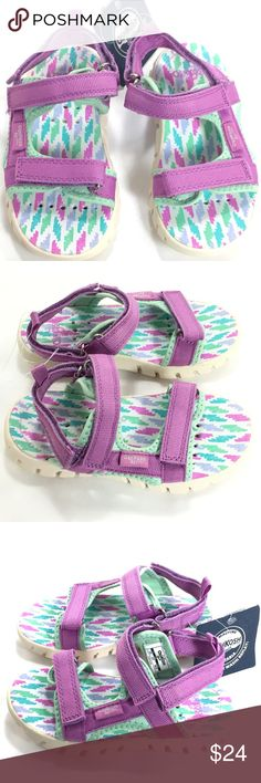 Oshkosh Bgosh Sandals Girl Purple Aqua White Water New with Tags!  OshKosh B'gosh Girls Sandals Purple / Mint Green / White Adjustable straps Non slip Retails $38  Great for everyday use and for water activities (beach, pool, splash parks).  Thank you for stopping by. Please MAKE an OFFER or check out my Posh Closet for other items to BUNDLE and SAVE! OshKosh B'gosh Shoes Sandals & Flip Flops