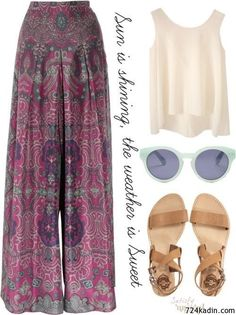 Pants in pink boho outfits, spring outfits, fashion outfits, cute outfits. Beauty And Fashion, Fashion Mode, Look Fashion, Womens Fashion, Fashion Trends, Fashion Hacks, Fashion Stores, Korean Fashion, Gypsy Fashion