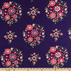 Amy Butler Love Memento Midnight -- $8.98 per yard -- Designed by Amy Butler for Westminster Fabrics, this romantic fabric features a large scale floral wreath design. The large floral measures approximately 8.00'' . The color palette includes coral, persimmon, lime, green, aqua and white on a midnight blue background. This fabric is appropriate for quilting and craft projects as well as apparel and home decor accents.