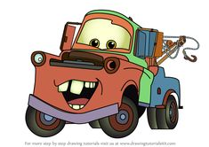 Learn How to Draw Tow Mater from Cars (Cars) Step by Step : Drawing Tutorials Cartoon Car Drawing, Cartoon Head, Car Drawings, Drawing For Kids, Learn Drawing, Car Painting, Rock Painting, Tow Mater, Radiator Springs