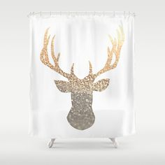 Buy Shower Curtains featuring GOLD DEER by Monika Strigel. Made from 100% easy care polyester our designer shower curtains are printed in the USA and feature a 12 button-hole top for simple hanging.