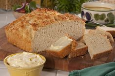 Easy Homemade Bread | MrFood.com   This recipe uses beer but you can substitute club soda.