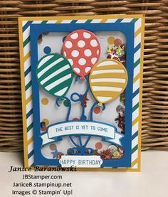 Balloon Adventure stamps for shaker-card, Balloon Pop-up thinlits, Party Animal DSP, Up Balloons, Birthday Balloons, Birthday Cards For Women, Happy Birthday Cards, Pop Up Cards, Xmas Cards, Ballon Party, Fancy Fold Cards, Shaker Cards