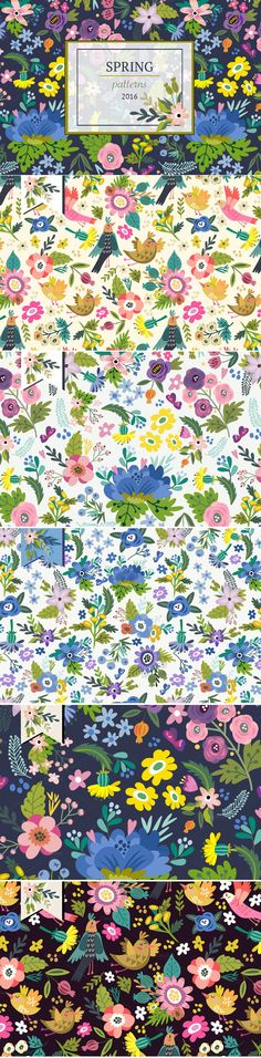 Charming set of #vector #spring #patterns ->> Flowers, plants, birds and butterflies! Enjoy the spring colors :)  Perfect for backgrounds of flyers, posters, invitations, cards,pillows, blogs and etc. #design