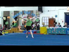 Boy's floor routine at women's gymnastics competition