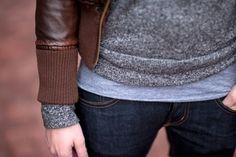 I love fall layers! Ending with a leather jacket is always a stylish choice!