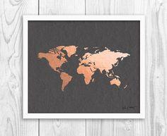 Kupfer und vergoldet Weltkarte von grau 6 von InkandHope auf Etsy: