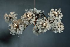 Chandeliers with clear flowers, Ceiling Lighting Fixtures - 10 arms