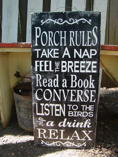 NEED to make one of these this spring!!! Porch Rules Distressed Wood Sign Annie's Barn