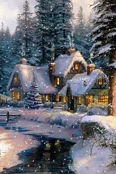 Beautiful Christmas scenes around the world - Bing images Christmas Scenes, Christmas Past, Winter Christmas, Vintage Christmas, Holiday Gif, Merry Christmas Images, Winter Gif, Winter Scenery, Winter Snow