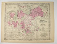 Vintage Map of Germany 1864 Johnson Map, NW Germany Map, Historical Map, German Office Decor Gift for Coworker, Antique Map Art Gift for Her available from www.OldMapsandprints.Etsy.com #1864JohnsonGermanymap #OriginalAntiqueMapofGermany #GermanHistoryBuffGift