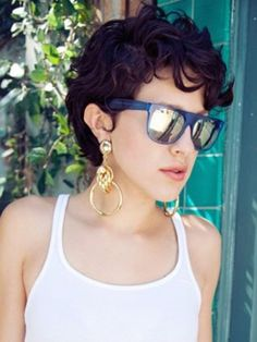 Well, one of the most trendy haircuts this year is the pixie haircut. Short Curly Cuts, Short Curls, Curly Hair Cuts, Short Hair Cuts For Women, Wavy Hair, New Hair, Curly Hair Styles, Curly Pixie Haircuts, Great Hair