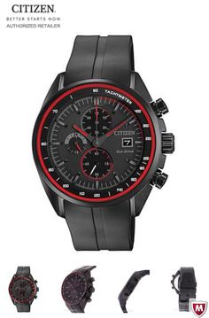 Citizen DRIVE HTM Mens Chronograph - Black Poly Steel - Red Accents - Strap