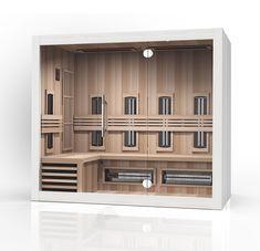 Moderne combinatie sauna met infraroodcabine in één. Perfect voor op badkamer of slaapkamer. 210 cm breed dus perfect om in te liggen Detox, Bookcase, Shelves, Modern, Kitchen, Design, Home Decor, Glass, Shelving
