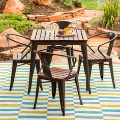 Shop for Carbon Loft Jardin Outdoor Dining Set. Get free delivery at Overstock - Your Online Garden & Patio Shop! Get in rewards with Club O! Outdoor Dining Set, Outdoor Chairs, Outdoor Living, Outdoor Decor, Lawn Chairs, Patio Dining, Outdoor Entertaining, Deck Furniture, Outdoor Furniture Sets
