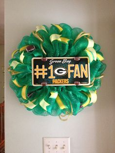 Green Bay Packer Wreath by ThisnThatWreaths on Etsy, $45.00